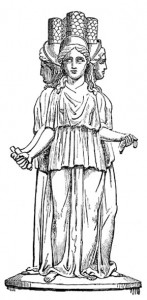 Triple Hekate, drawing based on that of an icon in the British Museum (London). From Hekate: Her Sacred Fires.