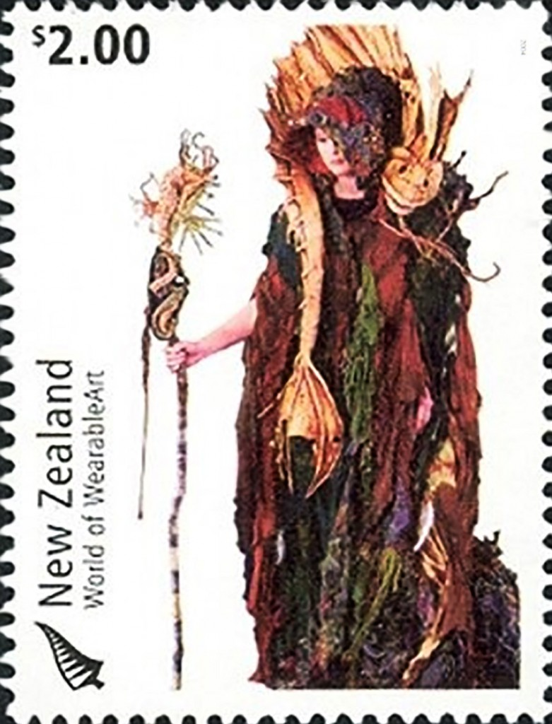 Image: NZ $2.00 stamp 2004, which formed part of a series on wearable art, showing the Cailleach Na Mara (of the Sea) by Jan Kerr. (Personal collection)