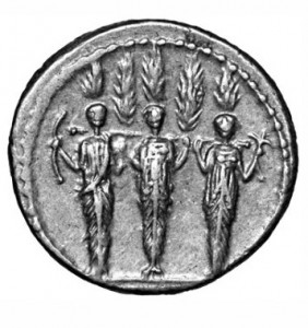 TRIPLE CULT STATUE OF DIANA NEMORENSIS, THE GODDESS OF LAKE NEMI. IN THIS DEPICTION, SHE IS SOMETIMES DESCRIBED AS DIANA, HECATE AND SELENE (OR ARTEMIS) OR SOMETIMES AS THE THREE QUERQUETULANAE NYMPHS OF THE SACRED OAK GROVE.
