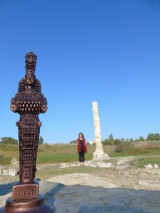 A replica of Artemis of Ephesus' Icon and myself at the Temple of Artemis of Ephesus in Turkey, 2015.  Photo by Lokabandhu.