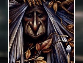 Book cover of Visions of the Cailleach by Sorita d'Este & David Rankine. Artwork by Marc Potts.