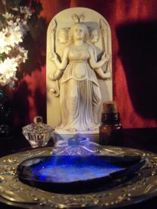 Shrine to the Goddess Hekate by Sorita d'Este. A goddess with many epithets and names - food offerings were and are made to her in devotional rites, as well as during petitions and magical ceremonies.