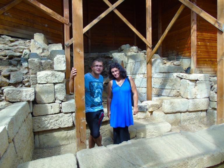 Georgi Mishev and Sorita d'Este in an ancient Thracian temple near Starosel, Bulgaria. 2015.