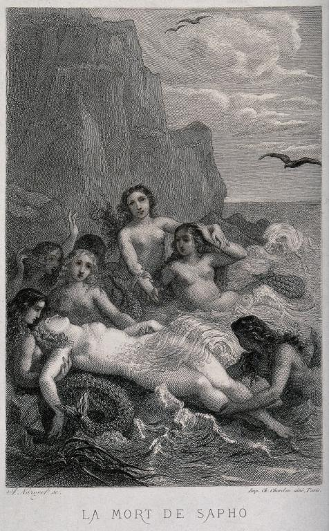 The death of Sappho. Engraving by A.J. Nargeot. Credit: Wellcome Collection. CC BY. The Poet of Lesbos who committed suicide by jumping into the sea.