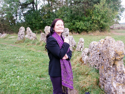 Morgana Sythove, Wiccan Priestess, visiting the Rollright Stones, in 2009