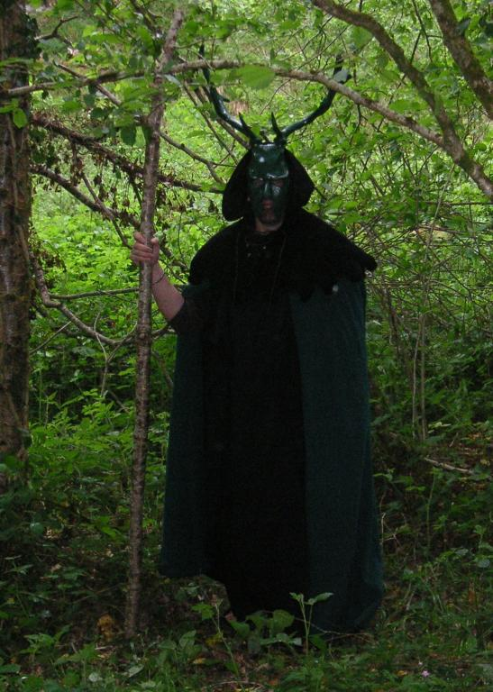 The High Priest stands in the Forest, waiting for the Horned God and the Goddess.