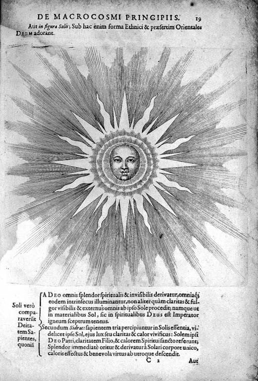 Drawing of the Sun by Robert Fludd, for article by Sorita dEste on why there is more light in the day on the Equinox than dark.
