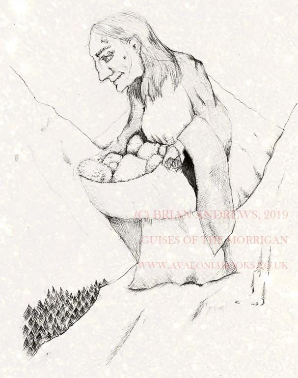 Cailleach (Winter Hag Goddess) Shaping the Land, by Brian Andrews. For the 2019 edition of The Guises of the Morrigan by d'Este and Rankine.