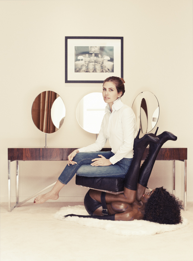 black woman chair