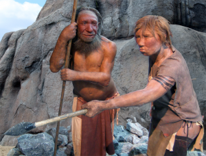 Here's a more modern depiction of a Neanderthal couple from the Neanderthal Museum in Germany. Look, women can use spears, too!