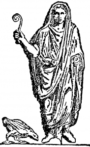 "A Roman augur, though they ""borrowed"" the shape of their wand from the Etruscans."