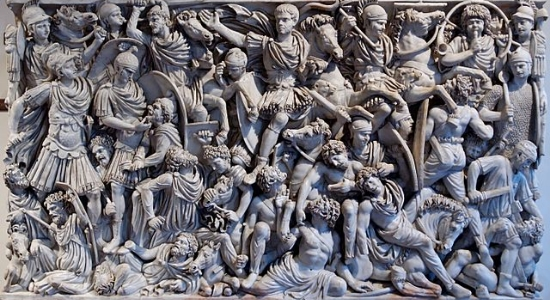 Technically, this depicts 3rd century Romans fighting barbarians, but this could easily be a political scuffle.