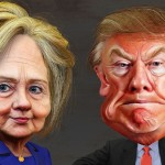 Clinton and Trump caricatures--cropped