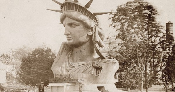 Head of Lady Liberty on display during the Paris World's Fair in 1878.
