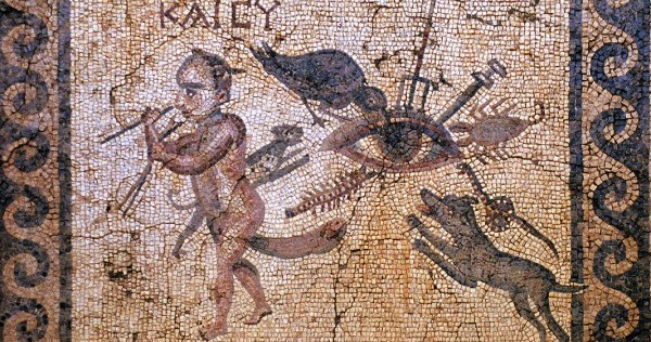 Roman mosaic of the evil eye under attack. Image credit: By WolfgangRieger - John R. Clarke: Ars Erotica. Darmstadt: Primus 2009.