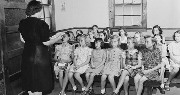 Christian indoctrination at Baptist Sunday school.