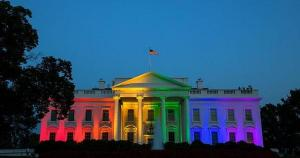The White House bathed in the rainbow flag on the day gay marriage was legalized. Yeah, it make me miss Pres. Obama, too. Via White House Photographer, Public Domain.
