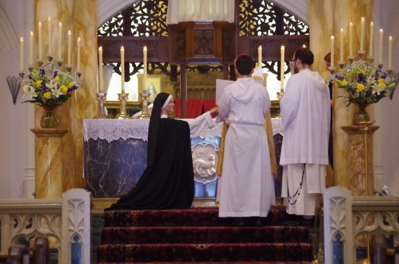 Sr. Maria Teresa, OP receives ring signifying her solemn profession of vows and espousal to Christ