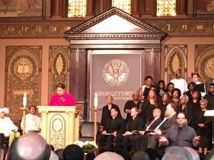 Dr. Onita Estes-Hicks reads from the Prophet Isaiah (55:6-12) at Georgetown University's Liturgy of Remembrance, Contrition, and Hope, Washington, DC, April 18, 2017.