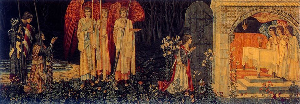 Sir Edward Burne-Jones, overall design and figures; William Morris, overall design and execution; John Henry Dearle, flowers and decorative details, The Attainment: The Vision of the Holy Grail to Sir Galahad, Sir Bors, and Sir Perceval (also known as The Achievement of the Grail or The Achievement of Sir Galahad, accompanied by Sir Bors, and Sir Perceval), 1895-96, PD-1923