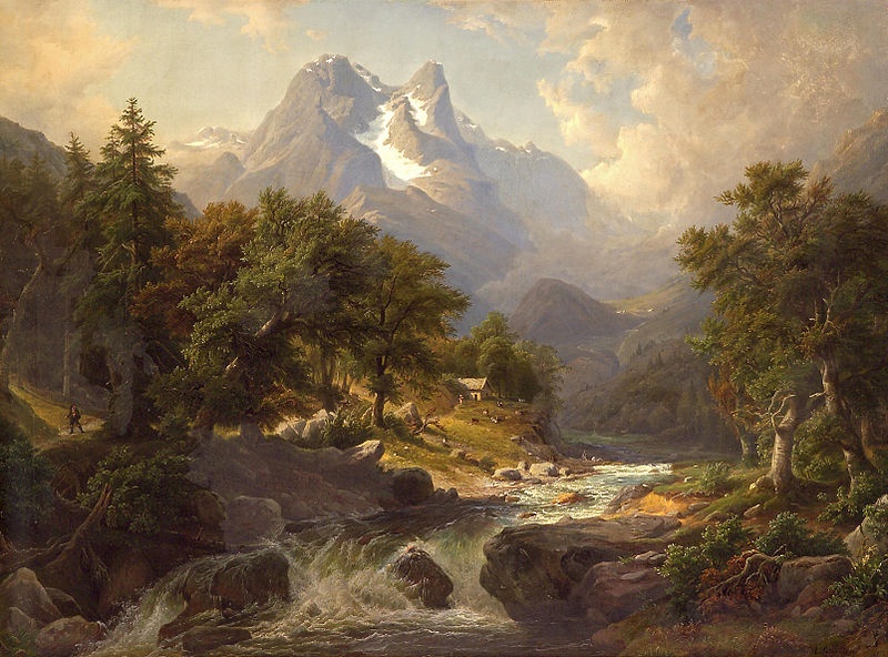 """Arnold Schulten (1809-1874) """"A mountainous landscape with a fast flowing river"""" 1845"""