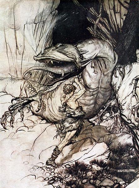 Siegfried kills Fafner. Date1911; New Impression's plates are the same as those of the first edition.[1] Source; Rackham, Arthur (illus) (1924-August) [1911] Siegfried & The Twilight of the Gods (New Impression ed.), London: William Heinemann, p. p. 56 Retrieved on 22 June 2011. Author Arthur Rackham (PD-US)