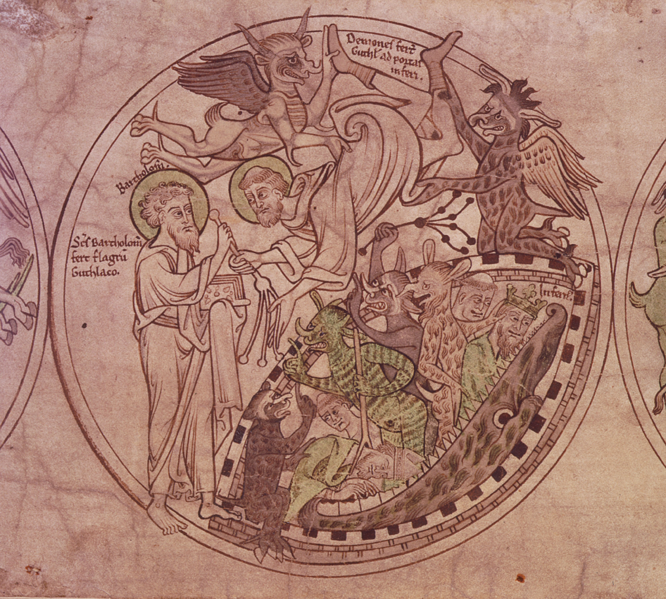 Description English: St Guthlac is presented with a whip by St Bartholomew as he is tormented by demons, illustration from The Guthlac Roll Date1210 SourceBritish Library [1] AuthorUnknown Source: Wikimedia Commons (Public Domain)