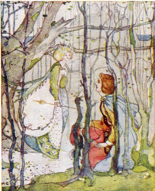 """Katharine Cameron (1874–1965) English: From Thomas the Rhymer (retold by Mary MacGregor, 1908), originally captioned """"Under the Eildon tree Thomas met the lady."""" The """"lady"""" here is Queen of Elfland. Datebefore 1901 SourceMacGregor, Mary; Cameron, Katharine (1874–1965), illus. (1908) Stories from the Ballads Told to the Children (Project Gutenberg), T. C. & E. C. Jack (PD US)"""
