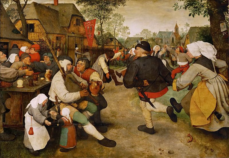 Artist Pieter Brueghel the Elder (1526/1530–1569) Link back to Creator infobox template wikidata:Q43270 Title	The Peasant Dance wikidata:Q95562 Date	circa 1568 Source/Photographer	 1. The Yorck Project: 10.000 Meisterwerke der Malerei. DVD-ROM, 2002. ISBN 3936122202. Distributed by DIRECTMEDIA Publishing GmbH. 2. GalleriX (PD 100, 23)