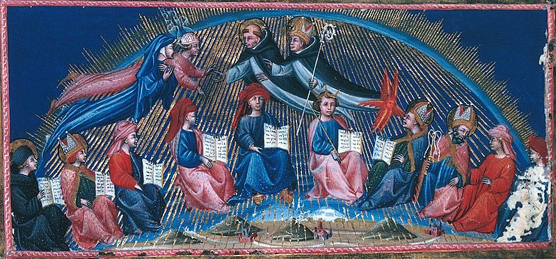 Artist Giovanni di Paolo (1403–1482) Link back to Creator infobox template wikidata:Q946420 Description	 Illustration of Dante's Paradiso, canto X, first circle of the 12 teachers of wisdom led by Thomas Aquinas Manuscript Date	between 1442 and circa 1450 Source Wikimedia Commons, Public Domain