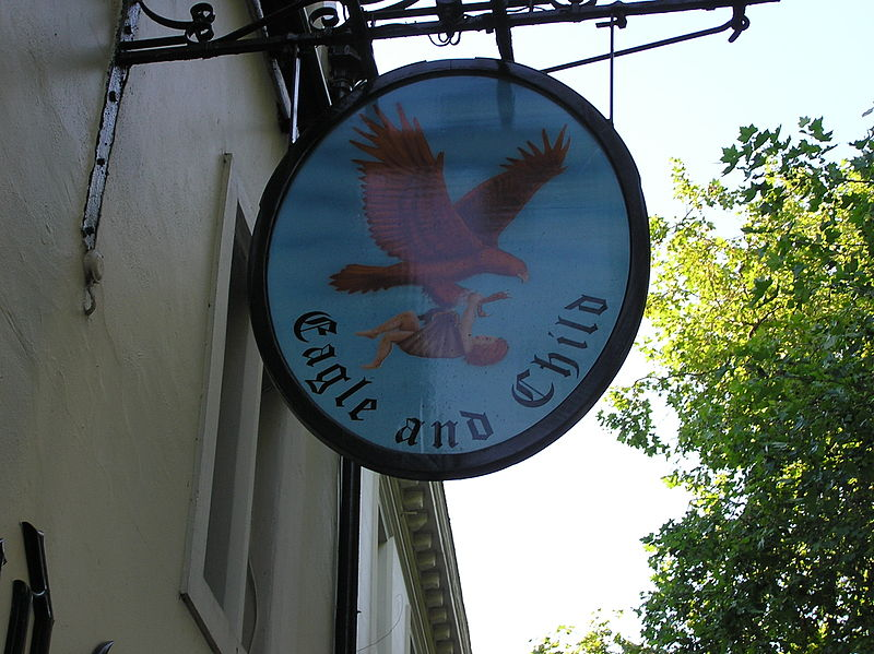 Description English: Picture of The Eagle and Child pub logo, in Oxford (England). Date 17 July 2006, 21:10 Source Self-photographed Author Gunnar Bach Pedersen Public Domain