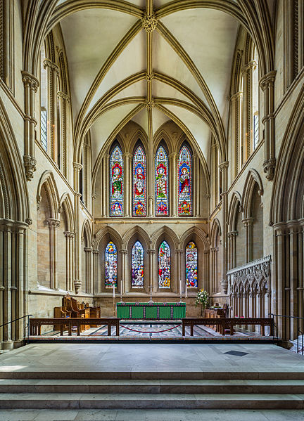 The high altar of Southwell Minster viewed from the sanctuary, in Nottinghamshire, England. Photo by DAVID ILIFF. License: CC-BY-SA 3.0