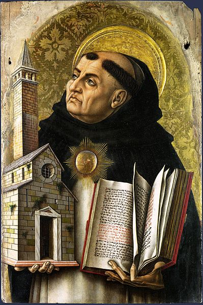 Artist Carlo Crivelli (circa 1435–circa 1495) Link back to Creator infobox template wikidata:Q348024 Title Saint Thomas Aquinas Description During the 13th century, Saint Thomas Aquinas sought to reconcile Aristotelian philosophy with Augustinian theology. Aquinas employed both reason and faith in the study of metaphysics, moral philosophy, and religion. While Aquinas accepted the existence of God on faith, he offered five proofs of God's existence to support such a belief. Date 15th century (Public Domain)