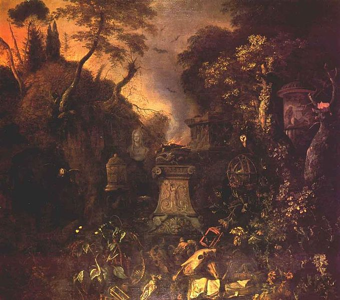 Artist Matthias Withoos (circa 1627–1703) Title Landscape with a Graveyard by Night (Public Domain)