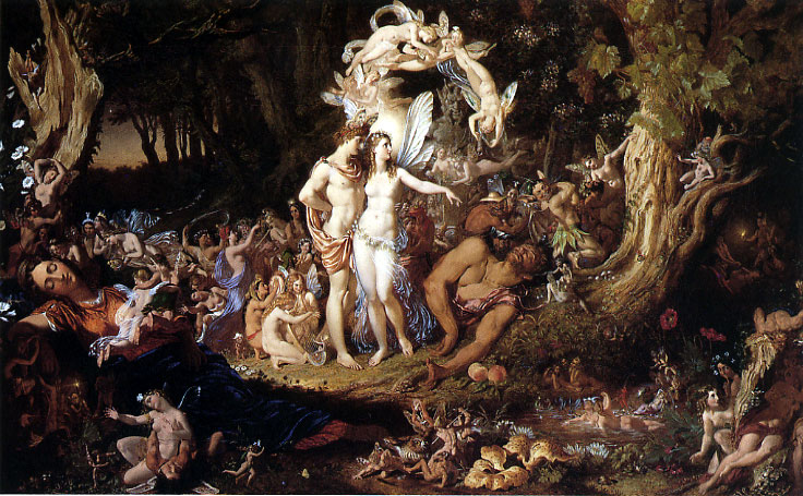 Author Joseph Noel Paton (1821–1901) Description English: The Reconciliation of Titania and Oberon Date 1847 According to the book, Titania and Oberon are the functional, human names, for the overqueen and king of Faërie. (Public Domain)