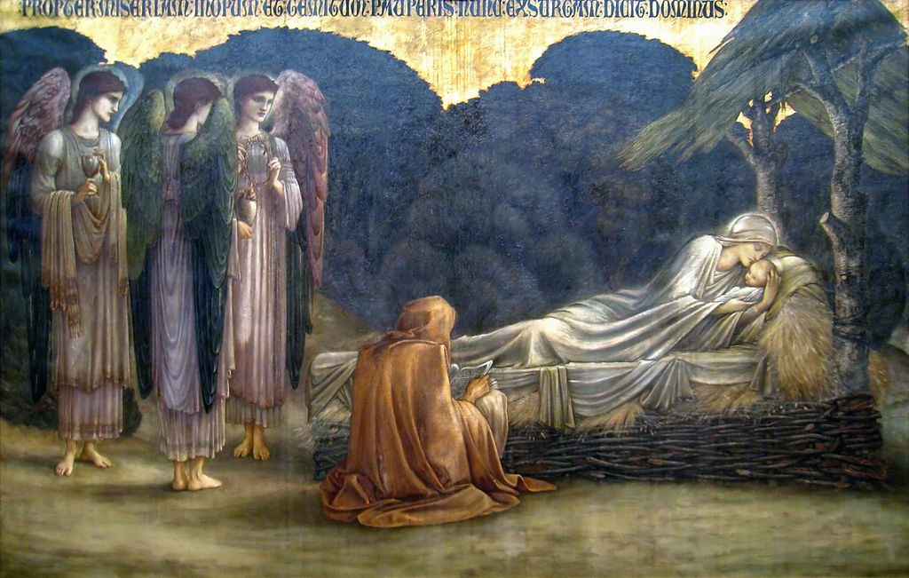 Description Edward Burne-Jones - Nativity, in the Carnegie Museum of Art, Pittsburgh, Pennsylvania, USA. oil on canvas 206 x 312 cm 1888 (Public Domain)