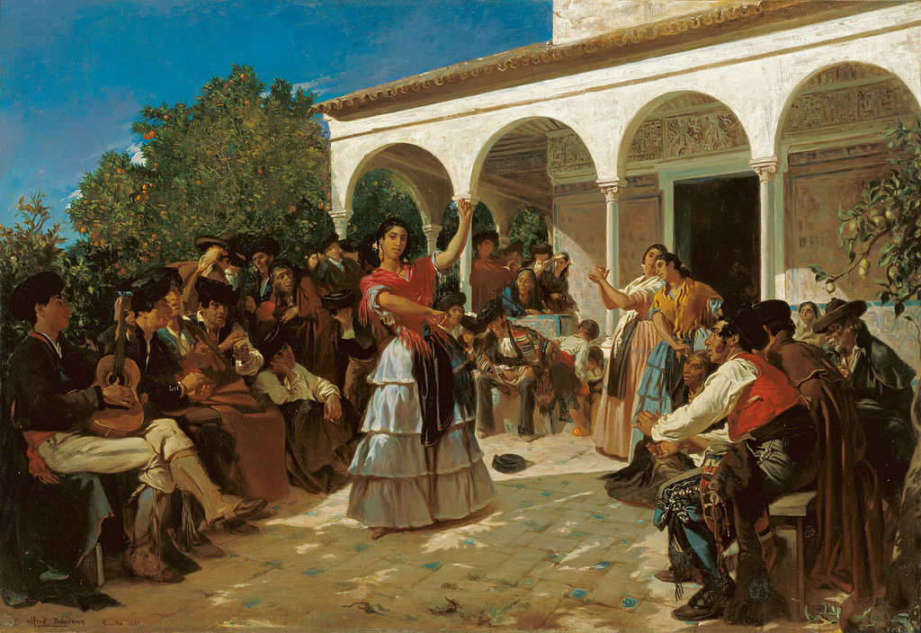 Author Alfred Dehodencq (1822–1882) Title A Gypsy Dance in the Gardens of the Alcázar, in front of Charles V Pavilion. Date 1851 Public Domain