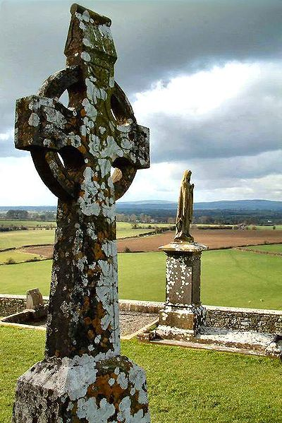 A High Cross at the Rock of Cashel in Ireland. The photograph was taken by Chmouel. See [1]. It was originally uploaded to the English Wikipedia, with the upload history: 02:54, 17 Sep 2004 . . User:Redquark (90603 bytes) (photoshopped to add top part of cross) 18:33, 23 Mar 2004 . . User:Chmouel (115833 bytes) (High Cross in Ireland) (CC BY-SA 3.0)