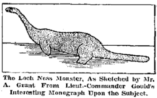 English: Sketch of the Arthur Grant alleged Loch Ness monster sighting in January 1934. DateIn 1934 Source	There'll Always Be A Monster in Loch Ness. San Antonio Light. 5 October, 1941. Author	Anonymous Public Domain