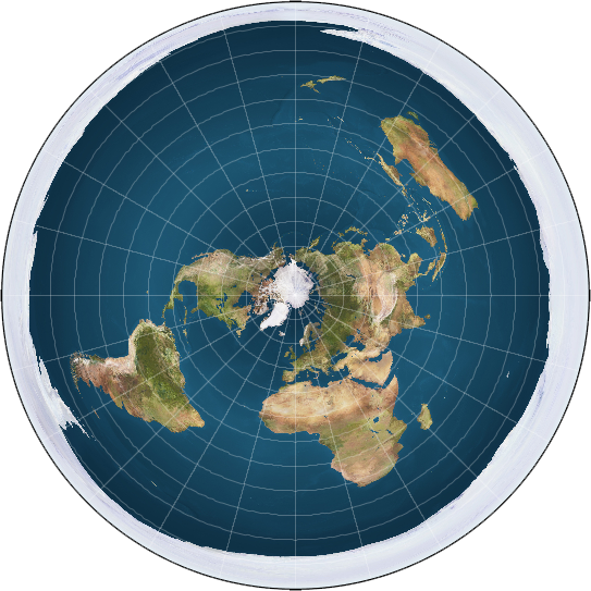 "Description English: An azimuthal equidistant projection of the entire spherical Earth. A rendered picture of the Flat Earth model. Created By Dominic Sobieski, The white around the outside of the globe is thought to be an 'Ice Wall', preventing people from falling off the surface of the earth. Date 14 November 2008 (original upload date) Source Transferred from en.wikipedia to Commons by MathiasRav. Author Trekky0623 at English Wikipedia (""I made this map myself"")"