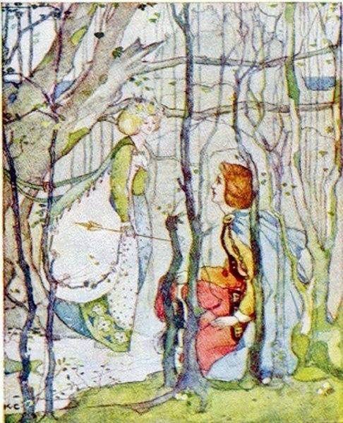Description Italiano: Thomas il Rimatore e la Regina degli Elfi Date before 1901 Source https://i.pinimg.com/736x/d5/24/81/d5248137e1980a13dfc6597467bfe94d--public-domain-fairy-tales.jpg Author Katharine Cameron (1874–1965) (Public Domain)