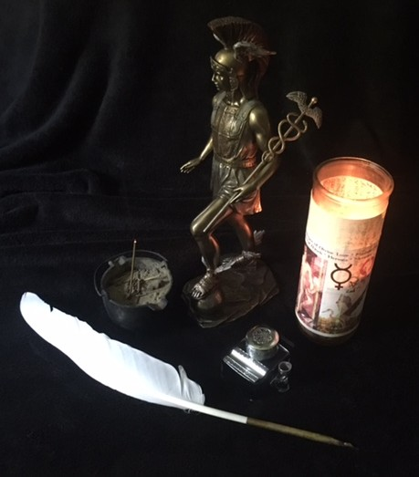 Hermes Altar with Quill - Photo by Heron Michelle