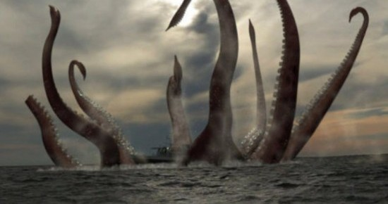 Leviathan or Kraken devouring a sailing ship at sea
