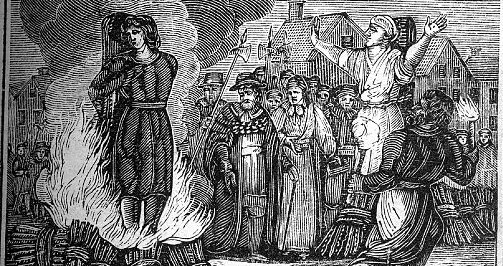 """Burning at the stake. An illustration from an mid 19th century book"" By mullica [CC BY 2.0] via Wikimedia Commons"