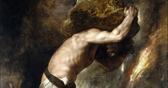 Painting of Sisyphus carrying a stone up the hill, by Titian
