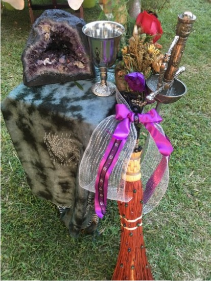 Amethyst, Besom, Sword, Chalice at center Altar