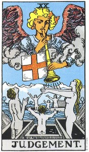 Judgement Trump Card of the Rider Waite Tarot Deck. Yes, this image depicts the rapture where grey zombie Christians rise bodily from their graves by God's Angels to be whisked away to heaven. Terrifying!