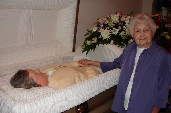 My Grandmother Frances by my Mother's casket at the Visitation