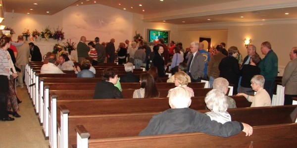Line of Mourners at my Mom's Visitation