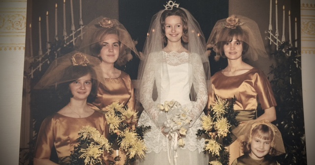 Tiger Mums in the bridesmaids bouquets at my Mother's wedding, 1966